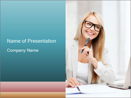Businesswoman With Paperwork PowerPoint Template