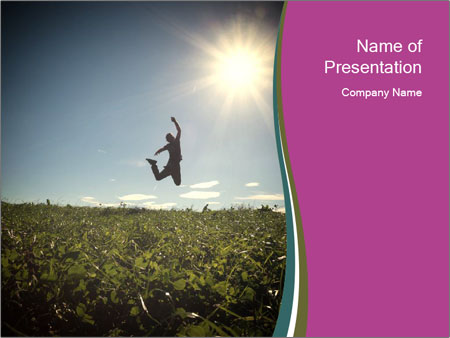Man Jumping In Field PowerPoint Templates