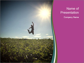Man Jumping In Field PowerPoint Templates - Slide 1
