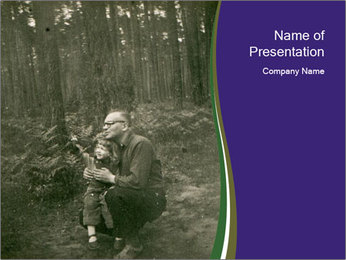 Father And Child In Forest PowerPoint Template