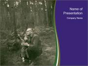 Father And Child In Forest PowerPoint Templates