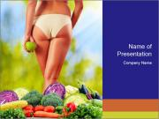 Slim Woman Vegetarian PowerPoint Template