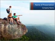 Couple Sitting On Cliff PowerPoint Templates