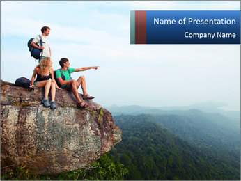 Couple Sitting On Cliff PowerPoint Template - Slide 1