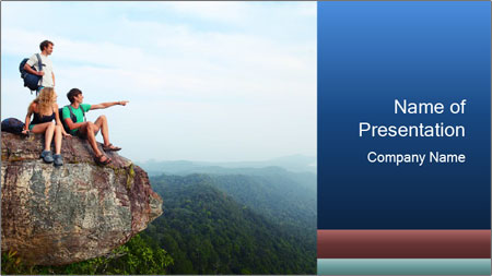 Couple Sitting On Cliff PowerPoint Template