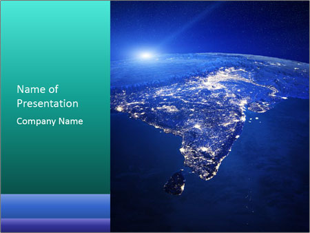 Night India From Space PowerPoint Template