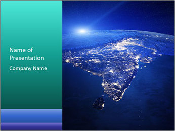 Night India From Space PowerPoint Template - Slide 1