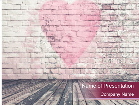 Pink Heart On Grey Wall PowerPoint Templates