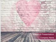 Pink Heart On Grey Wall PowerPoint Template