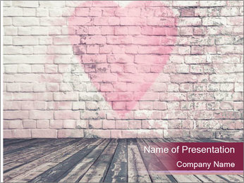 Pink Heart On Grey Wall PowerPoint Template - Slide 1
