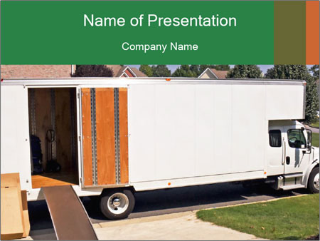 White Cargo Truck PowerPoint Template