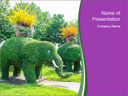 Elephant Made Of Grass PowerPoint Template