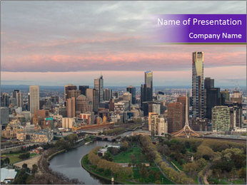 Aerial View Of Melbourne PowerPoint Template - Slide 1