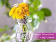 Light Bulbe With Yellow Flowers PowerPoint Template