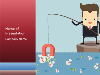 Cartoon Boy Fishing PowerPoint Template