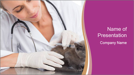 Woman Veterinarian With Kitten PowerPoint Template