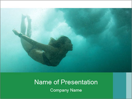 Woman Swimming Under Water PowerPoint Template