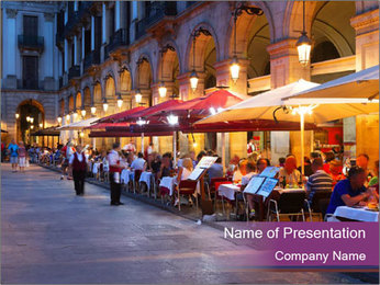 Street Cafe PowerPoint Template - Slide 1