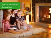 Mother And Kids Sitting Near Fireplace PowerPoint Template