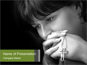 Praying Woman PowerPoint Template - Slide 1
