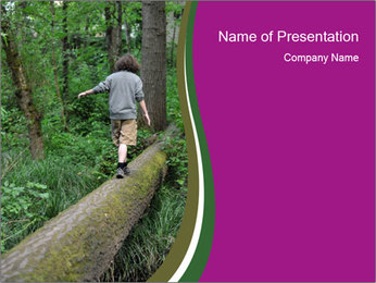 Small Boy Hiking PowerPoint Template - Slide 1