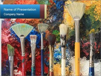 Artist's Brushes PowerPoint Template - Slide 1