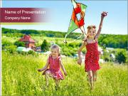 Sisters Playing In Field PowerPoint Template