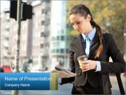 Businesswoman In City PowerPoint Template