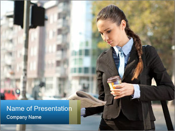 Businesswoman In City PowerPoint Template - Slide 1