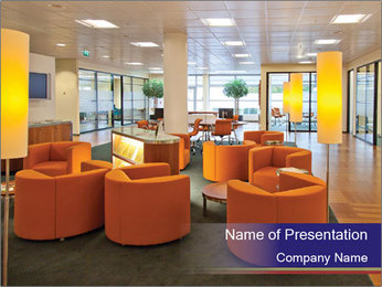 Orange Sofas In Lounge Area PowerPoint Template - Slide 1