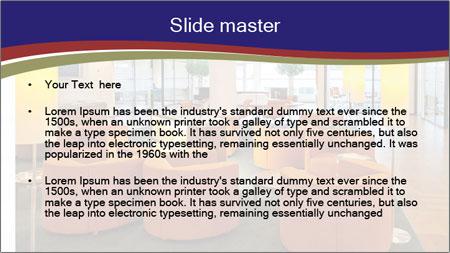 Orange Sofas In Lounge Area PowerPoint Template - Slide 2
