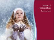 Girl And Snowflakes PowerPoint Template