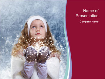 Girl And Snowflakes PowerPoint Template - Slide 1