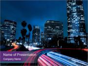 Los Angeles Traffic At Night PowerPoint Template