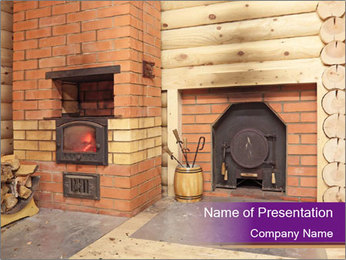 House With Fireplace PowerPoint Template