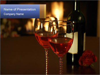 Romance And Two Glasses Of Wine PowerPoint Template - Slide 1