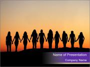 Friends Enjoying Sunset PowerPoint Template