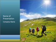 Group Of Hikers PowerPoint Template