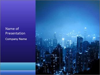 Blue City Night Lights PowerPoint Template - Slide 1