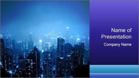 Blue City Night Lights PowerPoint Template