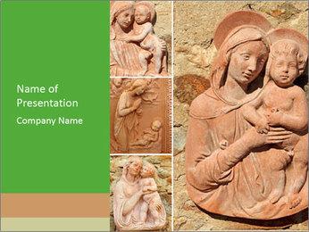 Antique Saint Mary Art PowerPoint Template - Slide 1