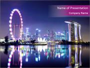 Night Time In Singapore PowerPoint Template
