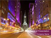 USA Capital At Night PowerPoint Template