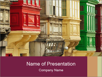 Colorful Buildings PowerPoint Template - Slide 1