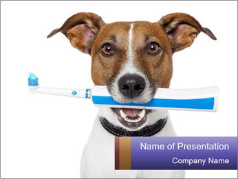 Dog With Tooth Brush PowerPoint Template - Slide 1