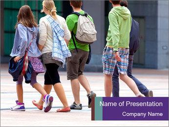 Teenagers Walking On Street PowerPoint Template - Slide 1