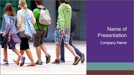 Teenagers Walking On Street PowerPoint Template