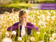 Girl Sitting In Dandelion Field PowerPoint Template
