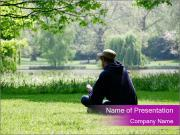 Teenager In City Park PowerPoint Template