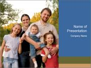 Family With Many Kids PowerPoint Template